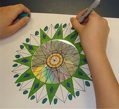 old cd mandala...4th grade - for rotational symmetry in math!   thanks, Deb