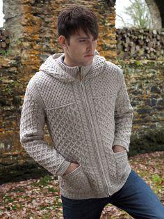 Aran Sweater Market - the home of Irish Aran sweaters. The Aran Sweater, also known as a Fisherman Irish Sweater, the famous original since quality authentic Aran sweater & Irish sweaters from the Aran Islands, Ireland. Merino Wool Sweater, Sweater Coats, Men Sweater, Aran Sweaters, Irish Sweaters, Hooded Cardigan Mens, Aran Knitting Patterns, Knitwear, Mens Fashion