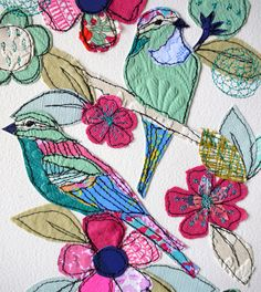 Jade Garden stitched original art bird/floral by AmandaWoodDesigns...stitched onto watercolor paper