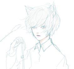 stray ~~ #death_note #near #nate_river #neko #fan_art Winchester, Death Note Near, Nate River, Kinds Of Story, Kawaii, Emo Boys, Manga Illustration, Shiro, Soft Grunge