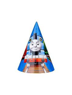 Thomas party hats. See more party ideas at BirthdayInaBox.com