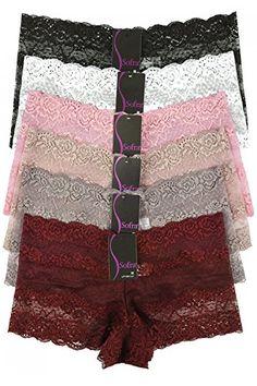 159d6e81ac4c Mamia Women's Sexy Lace Hiphugging Boyshort or Bikini Panties 6pk at Amazon  Women's Clothing store: