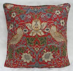 William Morris Fabric Cushion Cover Strawberry Thief 100 Cotton COT2288 12 | eBay