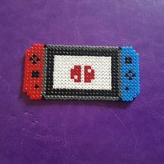 Mini Nintendo Switch Perler Beads By: Unknown Perler Bead Designs, Perler Bead Templates, Hama Beads Design, Diy Perler Beads, Perler Bead Art, Melty Bead Patterns, Pearler Bead Patterns, Perler Patterns, Beading Patterns