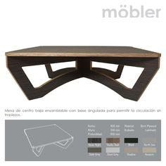 Mesa de centro baja ensamblable con base angulada para permitir Ia circulación sin tropiezos. Möbler - Trennbar.