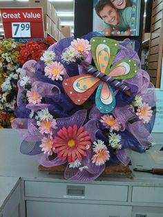 Some deco mesh wreaths for summer