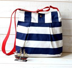 WATER PROOF  Diaper bag / Beach tote Stripes Canvas   Stockholm Navy blue and White- 10 Pockets Blue Pattern  / Made to order