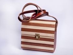 Handcrafted Designer Wooden Bags with adjustable genuine leather strap , strong , quality made , water resistant and durable . Wooden Bag, Cape Town, Strong, Water, Bags, Design, Gripe Water, Handbags
