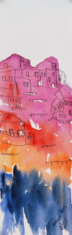 Watercolor painting Manarola Cinque Terre by StimmungeninFarbe, €32.00