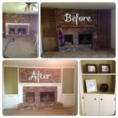 Fireplace Redo with back painted bookcases and crown molding. Painting Bookcase, Painted Bookshelves, Paint Fireplace, Fireplace Design, Back Painting, Bookcase Decorating, Decorating Ideas, Decor Ideas, Home Repairs