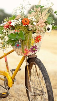 Decorative flowers on the wicker bike basket with wildflowers inside Old Bicycle, Bicycle Art, Bicycle Decor, Bike Planter, Bicycle Pictures, Wedding Rentals, Henri Matisse, Vintage Bicycles, Color Splash