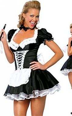 2018 JJ-GOGO Womens French Maid Costume Sexy Black Satin Halloween Fancy Dress and more Sexy Costumes for Women, Women's Halloween Costumes for French Maid Fancy Dress, French Maid Costume, School Girl Lingerie, Halloween Fancy Dress, Halloween Costumes, Maid Costumes, Halloween Ideas, Maid Outfit, School Girl Outfit