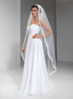 Langer Brautschleier mit Spitze W103, Schleier, Länge 150cm,