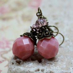 Pink FirePolished Czech Glass Bead Earrings  by carolinascreations, $5.50