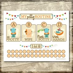 Instant Download  Printable Potty Chart  by CreativiDeeWorkshop