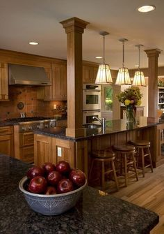 Wood posts on kitchen island