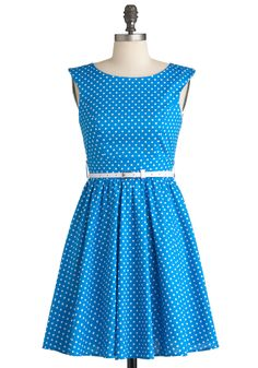 Azul You Like It Dress - Short, Blue, White, Polka Dots, Party, Sleeveless, Belted, Fit & Flare, Cotton, Boat