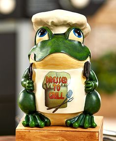 Frog Statues BBQ Grill Humorous Grillmaster Gift Ceramic