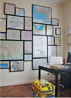 framed map pics wall