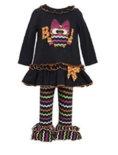 Bonnie Jean Girls Halloween Owl BOO Dress Legging Outfit, Black, 18 Months. Adorable 2-piece set outfit by Bonnie Baby (line from Bonnie Jean). The long sleeve dress features solid black knit throughout, black orange trim ruffled under round neckline, chevron OWL BOO! with a bow applique' at the front center. Black orange trim ruched around the insert ruffled hem. Comes with a coordinating multi-color chevron & double ruffled leggings. Dress and leggings are mixture of 95% cotton & %5...