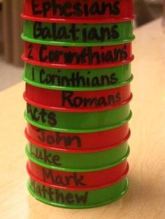 """cheap plastic cups labeled with Books of the Bible to practice stacking them in order. This would make a great """"minute to win it game"""" for kids and adults. by Destiny.Awaits.828"""