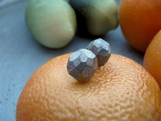 Geometric clay earrings champagne and black stud by CloudPearls