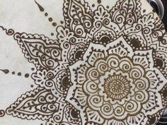 """Asymmetrical Henna Tambourine 8"""" Mandala Drum Mehndi"""