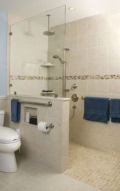 barrier-free roll-in zero entry shower with grab bars ceramic tiles