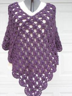 crochett poncho patterns | Plus Size Ladies Crochet Poncho Shell Stitch in by…