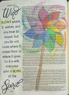 John 3:8 Bible art journaling by @peggythibodeau www.peggyart.com Holy Spirit is a mystery, just like the wind.