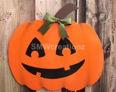 Pumpkin Door Hanger- Halloween Door Hanger/ Wood Cut Out/ Door Decor/ Halloween Decor/ Farmhouse/ Home Decor