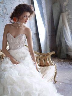 523cad58fe9d A high-fashion kind of wedding dress. Lazaro Bridal, Bridal Gowns, Organza