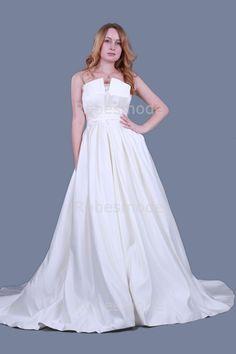 robe de mariée A-ligne princesse sans bretelle empire ruches traîne chapelle en satin€122.38