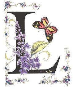 The Flower meaning for Lilac is Youthful, Innocence, First Love. This Alphabet took me a year to complete, not only making sure that each letter was the same font and size, but also searching for the names and butterflies to coincide with the letter. Alphabet Art, Calligraphy Alphabet, Alphabet And Numbers, Decoupage, Embroidery Designs, Flower Meanings, Letter L, Illuminated Letters, Graphic 45
