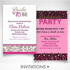 Get everybody on board  with themed & custom invites! Customize your font, text color & layout to fit your bride's personality!
