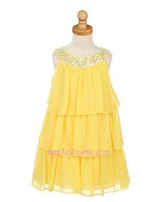flowergirl - 3-Tier Chiffon Knee Length Dress