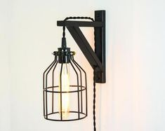 Wall Lamp Wall Sconce Plug In Wall Lamp Antique Brass Plug In Wall Lamp, Plug In Wall Lights, Brass Wood, Antique Brass, Mood Light, Light Bulb, Ikea Ekby, Cage Pendant Light, Edison Lamp