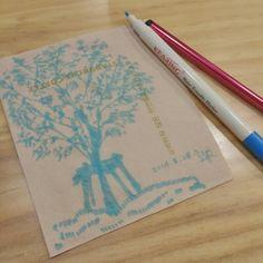 폰이 업데이트 되는 동안 심심해서 카페 밖의 나무를 보고 그린 냅킨화 ㅋㅋㅋ