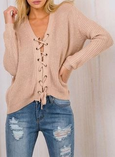 b061d5756103 Casual Lace up Front Ribbed Knit Sweater - OASAP.com
