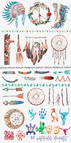 Watercolor Indian Clipart Set,Tribal,Headdresser,A Cherokee Indian Tattoos, Native American Tattoos, Native American Cherokee, Native American Symbols, Cherokee Indian Art, Cherokee Rose, Cherokee Sport, Cherokee Nation, Indian Symbols
