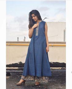38 new ideas diy fashion jeans shorts Fashion Wear, Modest Fashion, Diy Fashion, Indian Fashion, Fashion Dresses, Ethnic Trends, Kalamkari Designs, A Line Kurti, Diy Wedding Dress