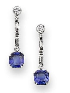 Sapphire Earrings A pair of art deco sapphire and diamond pendent earrings, circa 1930 Good, Great, or just OK? Bijoux Design, Schmuck Design, Jewelry Design, Designer Jewelry, Art Deco Jewelry, Modern Jewelry, Fine Jewelry, Geek Jewelry, Contemporary Jewellery