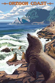 Heceta Head Lighthouse, Oregon - Sea Lions - Lantern Press Artwork (Art Print Available) Mendocino California, California Coast, Retro, National Park Posters, National Parks, Lion Art, Stock Art, Animation, Vintage Travel Posters