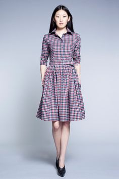 Red Tartan Cotton Dress by Mrs Pomeranz by mrspomeranz on Etsy, £285.00