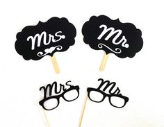 Mrs and Mrs Photo Booth Props Signs and by CreativeButterflyXOX, $22.95