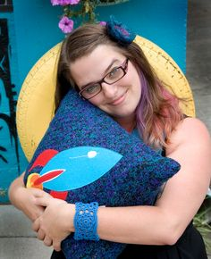 Rocket pillow & crochet wrist cuff at Kitsch located in Norfolk, VA  www.kitschva.com