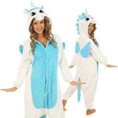 Now bring the cool Blue Unicorn home with this comfortable and fun onesie made with soft and cozy fleece. You can be the coolest unicorn ever with this stunning blue fronted, white onesie with beautif