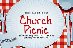 have you heard about our church picnic be sure to check it out on sunday july 8 at mullally park from 130 430 pm