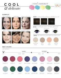 I look best in cool tones and am a mix of this and another palette. I look best in cool tones and am a mix of this and another palette. Soft Summer Color Palette, Cool Color Palette, Colour Pallete, Summer Colors, Cool Skin Tone, Colors For Skin Tone, Cool Tones, Makeup Over 50, Seasonal Color Analysis