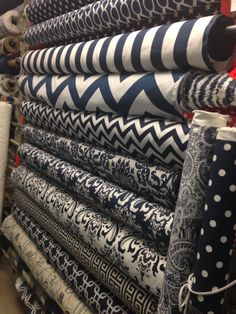 Some of our navy Premier prints! $7.99-8.99 per yard Premier Fabrics, Premier Prints, Printing On Fabric, Bedding, Yard, Store, Fun, House, Ideas